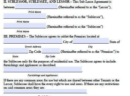 sublease agreement template printable template pinterest real