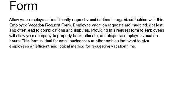 vacation time off request form and leave letter sample requesting - employment request form