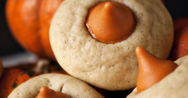 Chai spice cookies with pumpkin Hershey Kisses. Perfect for fall with Pumpkin
