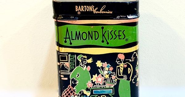 Vintage Candy Tin Barton S Almond Kisses Canister Box Parisian