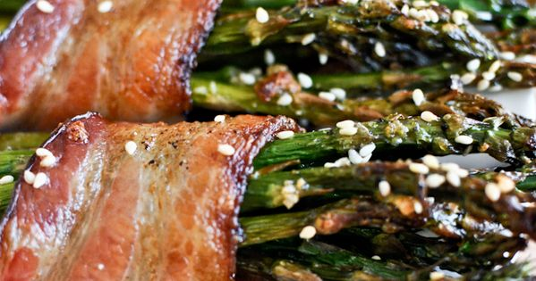 Bacon Wrapped Caramelized Sesame Asparagus Recipe Appetizers with asparagus, thick-cut bacon, olive