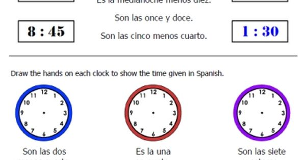 free telling time in spanish worksheets packet to download at ...