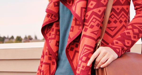 red tribal sweater cardigan