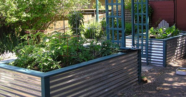Raised bed planter made from corrugated metal backyard sanctuary pinterest gardens raised for Corrugated metal raised garden beds