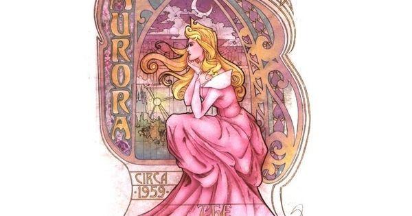 Art Nouveau Disney princesses: Aurora (pencil & digital media). By Enrique Pita