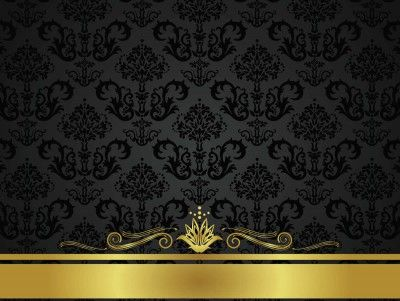 Black Golden Floral Design Ppt Backgrounds Black Background