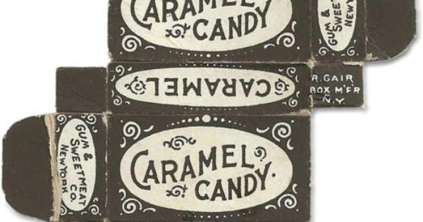 Tiny caramel candy paper box packaging design from the Gum & Sweetmeat