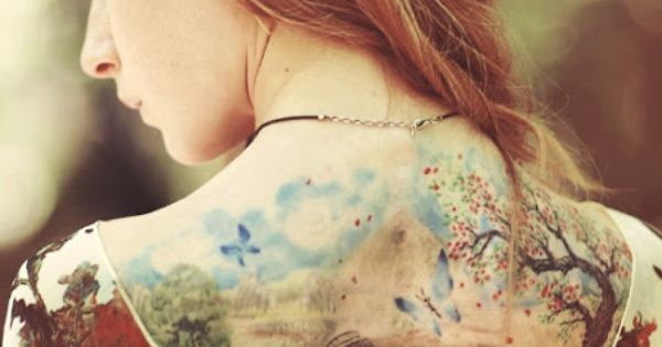 Colourful Back Tattoo Design For Girls