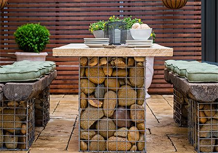 Home Dzine Gabion Style Outdoor Table Set Use Gabion