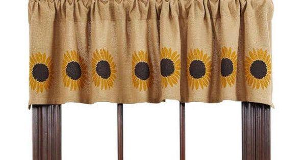 New Country Primitive Burlap Sunflower Curtain Window Valance Country Primitive Valance And