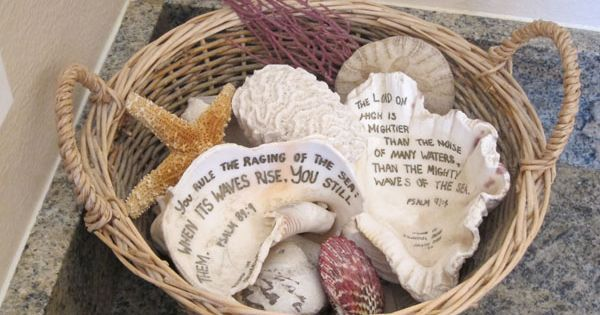 write scripture on shells - lots of other ways to display ...