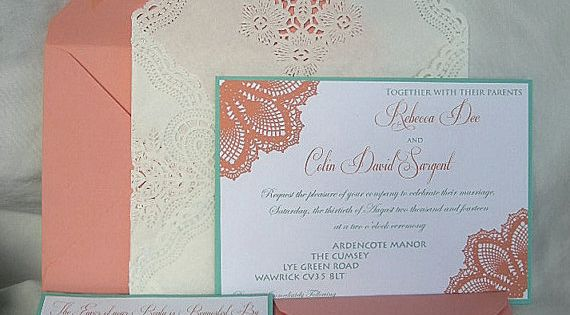 Turquoise And Coral Wedding Invitations: Coral Peach N Turquoise Blue Aqua Teal Blue Lace Wedding