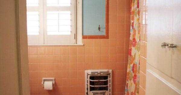 Vintage tile scrapbook peach and orange vintage tile with for Peach tile bathroom ideas