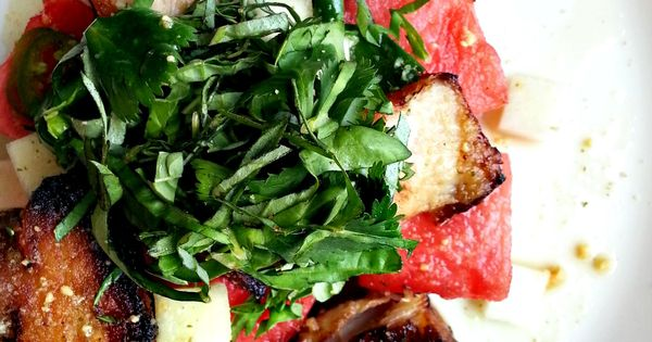 a new take on a watermelon salad: crispy pork belly and ...
