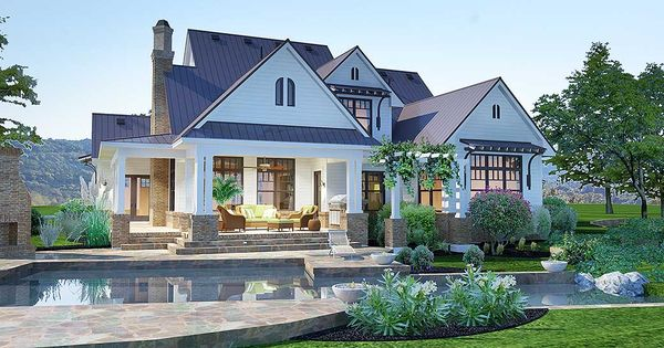 Plan 16853WG Elegant Farmhouse Living Farmhouse