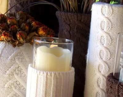 Use old sweater sleeves over cheap vases for winter decor....