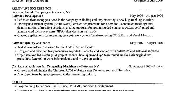 examples of a resume clarkson university senior computer