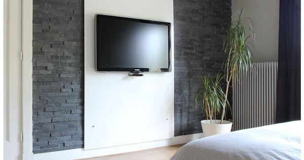 Slaapkamer tv wand met steenstrips slaapkamer pinterest slaapkamer tv tv en slaapkamer - Deco entreehal ...