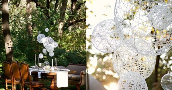 DIY String Chandeliers Jessica of Wednesday Inc shows us how to make