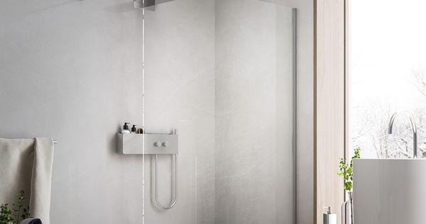 begehbare dusche mit duschwand aus glas f r moderne. Black Bedroom Furniture Sets. Home Design Ideas