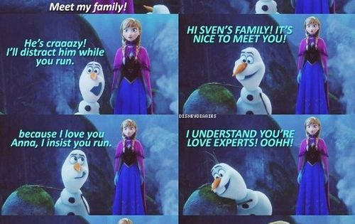 Frozen movie quotes ❄️ Sven introduces Anna and Olaf to his family