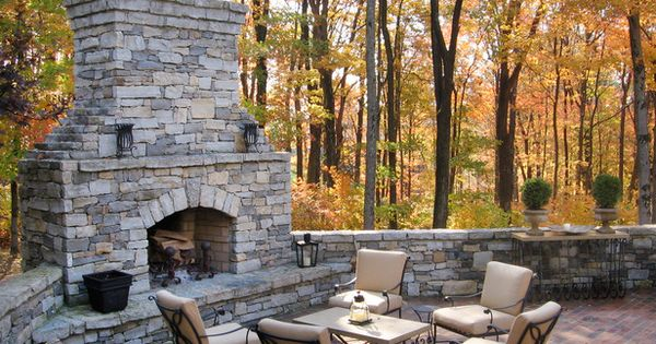 Outdoor Rooms with Fireplaces | Stacked Stone Outdoor Fireplace and Hearth