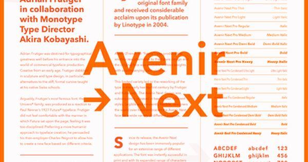 Fonts Com Avenir Next Graphic Design Fonts Booklet Design Type