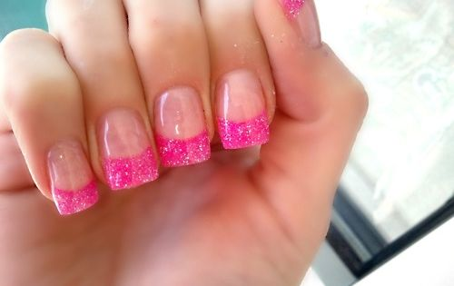 Gel Nails with Pink Glitter Tip pinkgelnails pinkglittertip