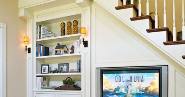 Bookcase and tv under stairs for the home pinterest for Etagere sous tv