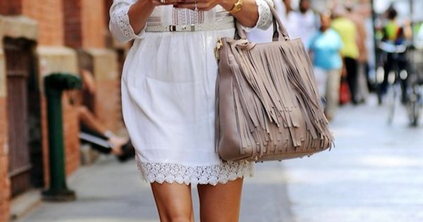 * OP White summer dress and flats with a tote bag and
