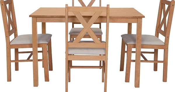 buy home ava dining table and 4 chairs solid oak cream. Black Bedroom Furniture Sets. Home Design Ideas