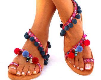 40/% OFF Colorful Sandals  Pom Pom Sandals  Bohemian Strappy Sandals  Greek Leather Sandals  Womens Sandals  Ethnic Boho Sandals