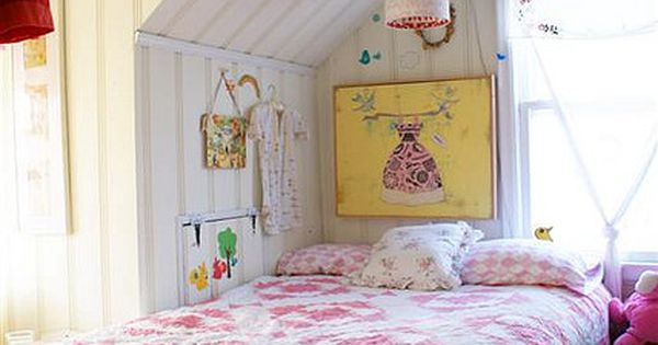 Cosy bed under the eaves ~ vintage pink quilt Need Bedroom Decorating
