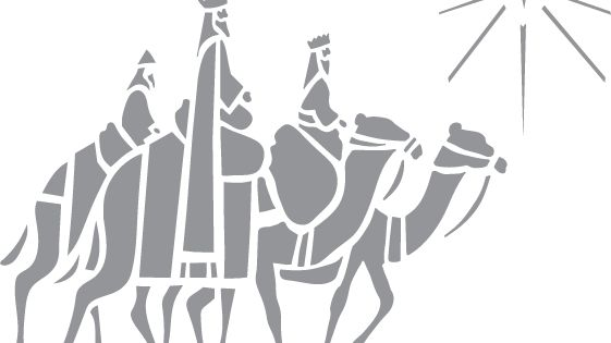 Glass Etching Stencil Of Wise Men Following Star In