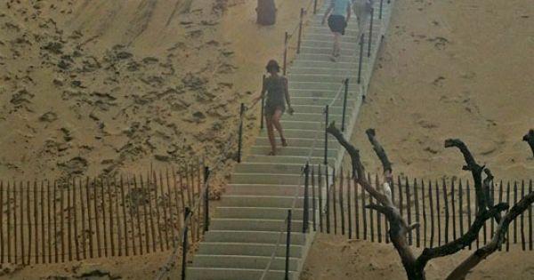 escalier de la dune du pilat bassin d arcachon aquitaine gironde aquitaine