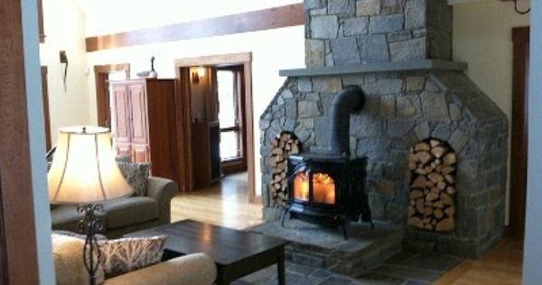 Wood Stove Ideas Fieldstone Surround Wood Burning