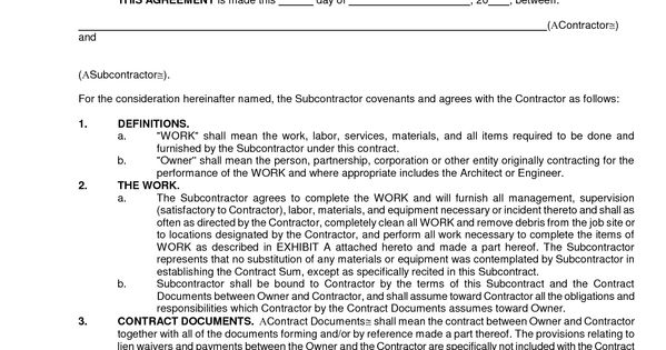 Search Results Sub Subcontractor Agreement Best Car