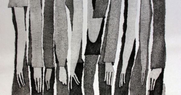 Tetsuo Aoki is a Japanese woodblock printmaker whose elongated black and white figures caught