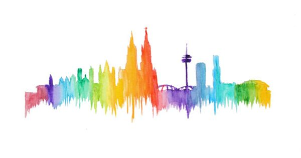 London Skyline Printcolorful Watercolor Design Etsy Watercolor Design Skyline Painting Cityscape Art