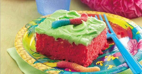 Sour Patch Kids Cake-using Betty Crocker's Super Sour Cake Recipe (Cake: cake