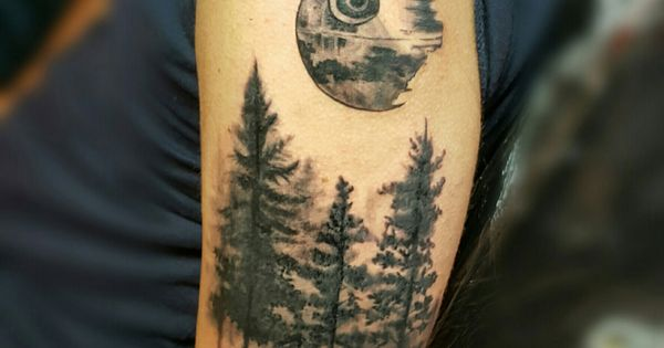 Death Star Tattoo Small: Black And Gray Forest With Death Star Tattoo By Nasa At