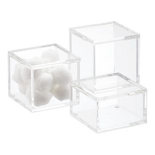 Square Acrylic Canisters Bathroom Accessories Chrome Bathroom