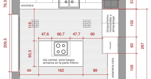 Plano de planta de distribución acotado del proyecto de una cocina #planos  Homebox ...