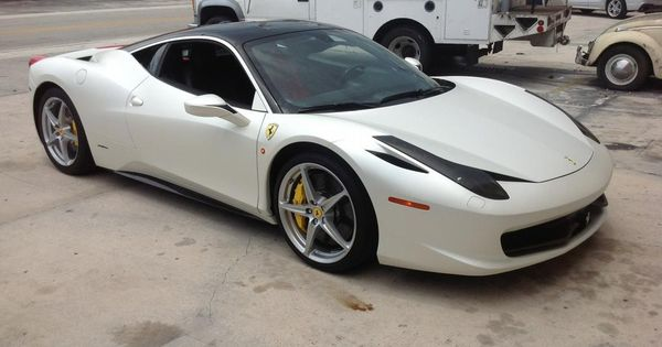 Ferrari 458 Italia Satin Pearl White Wrap by Miami Signs