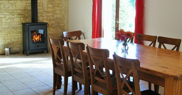 Lounge Dining Area In La Grange Gite With Recently Installed Woodburner Ideal For Family Guests Out Of High Season Www Leshibou Home Double Room Dining Area