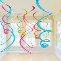 Pastel And Gold Hanging Swirl Decorations Pack Of 12 One Size