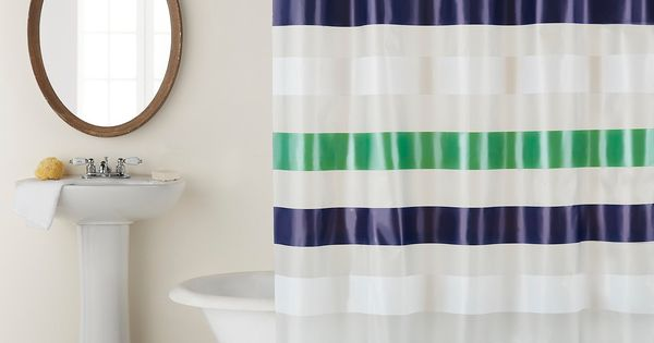 Studio D Back To Campus Collection Navy Stripe Shower Curtain Rug Set Navy Multi N A Striped Shower Curtains Fabric Shower Curtains Clean Shower Curtains