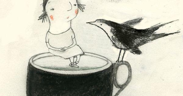 art, illustration, animal, bird, figure, child, girl, sitting, cup, naive. // Manon