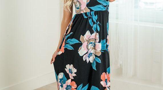 Floral Bulgari Print Sleeveless Maxi Dress Black Dress Long Dress Maxi Shopmvb Women S Boutique Online Maxi Dress Sleeveless Maxi Dress Black Maxi Dress