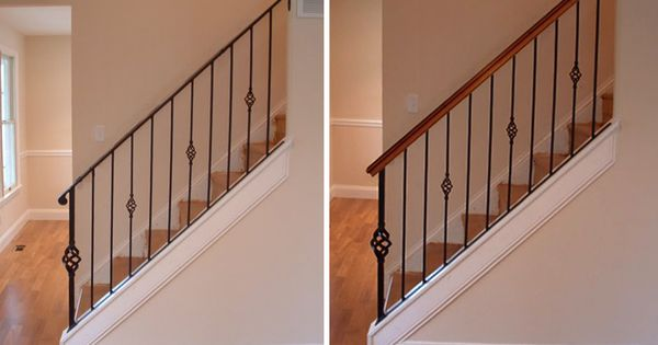 Best Stair Makeover Adding A Wood Handrail To Your Full Iron 400 x 300